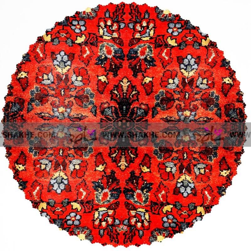 رومیزی گلیم قرمز دستباف گرد