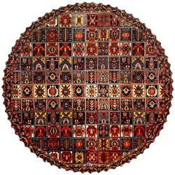 رومیزی فرش خشتی قهوه ای قرمز گرد مخمل