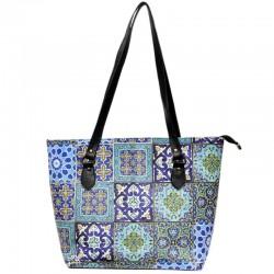 کیف دوشی زنانه چند کاشی آبی