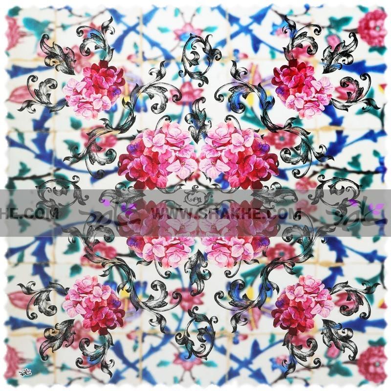 رومیزی مخمل مربع گل کاغذی