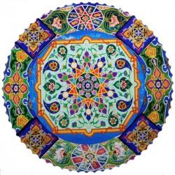 رومیزی مخمل گرد ترمه شمس سنتی کاشی ابی