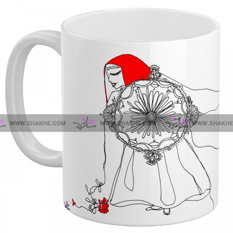 ماگ سرامیکی نقاشی زن دف نواز
