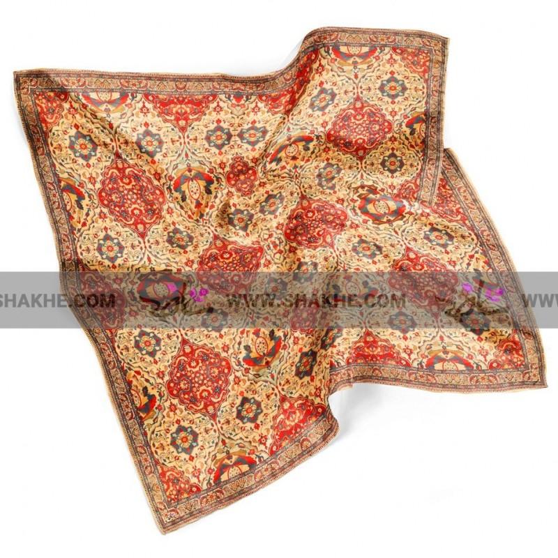 روسری نخی طرح فرش بندی