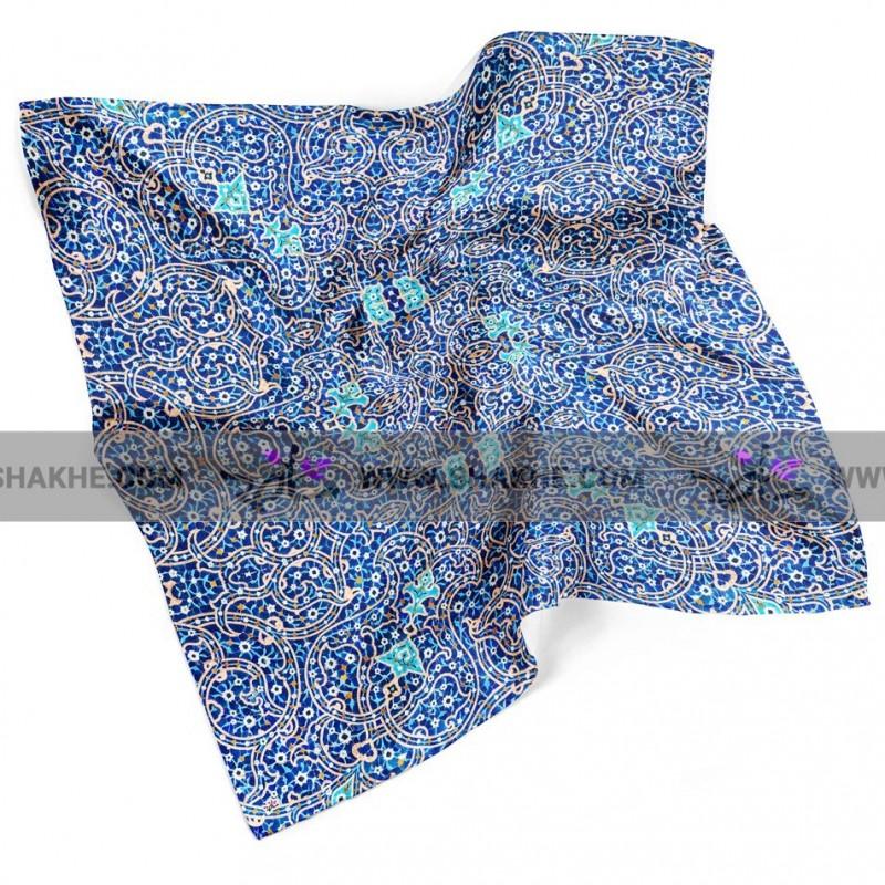 روسری نخی کاشی شکسته لاجورد