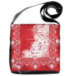کیف چرمی خورجینی خط قرمز