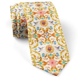 کراوات کلاسیک گل و پروانه سفید