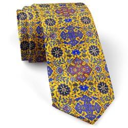 کراوات مردانه طرح کاشی زرد