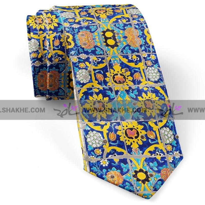 کراوات مردانه طرح کاشی زرد کبود