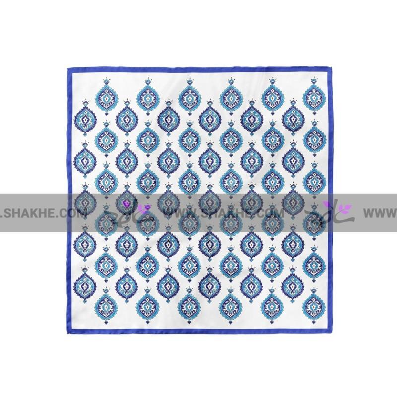 پوشت (دستمال جیب) سفید آبی