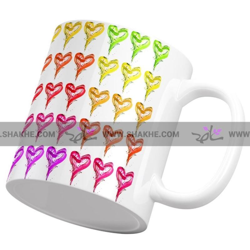ماگ قلب ماژیکی رنگارنگ