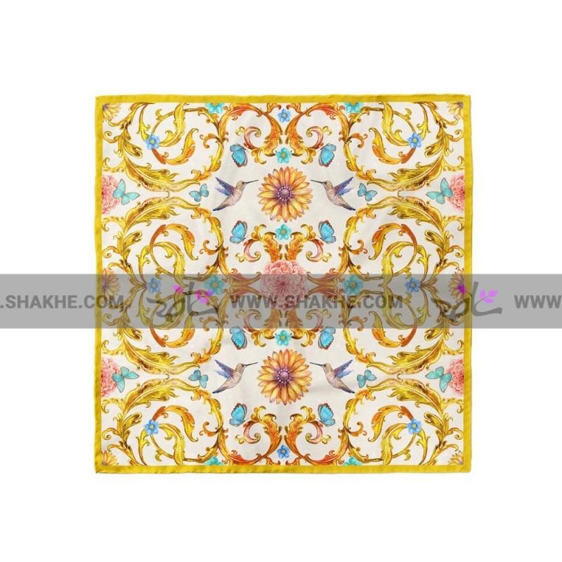 پوشت (دستمال جیب) کلاسیک گل و پروانه سفید