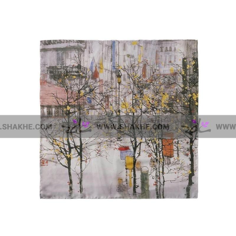 پوشت (دستمال جیب) رنگ روغن شهر و درخت