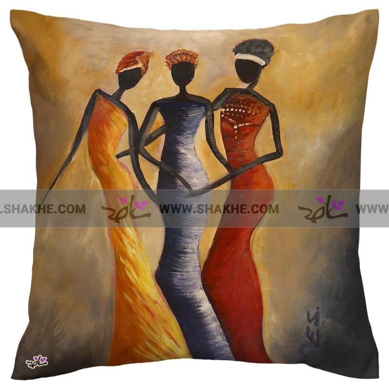 کوسن نقاشی دختران افریقایی