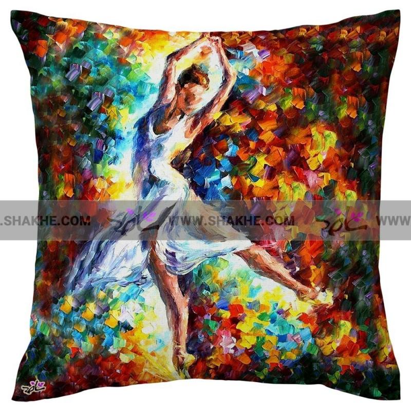 کوسن نقاشی رنگ روغن رقص باله