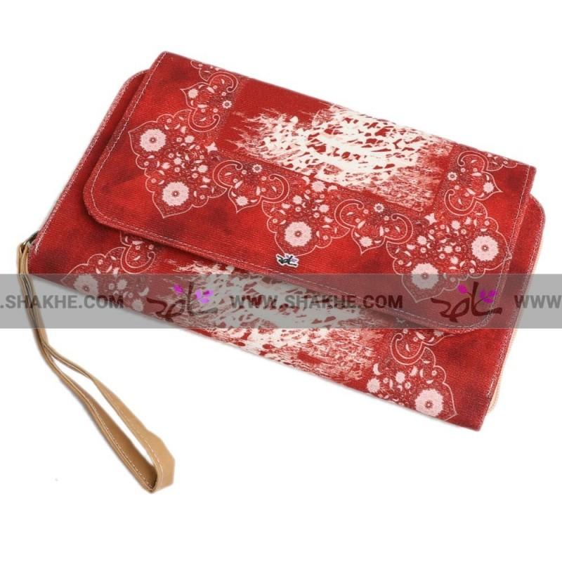 کیف کلاچ درب دار مخمل قرمز