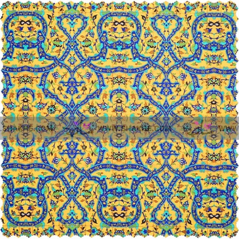 رومیزی مخمل مربع فرش کاشی زرد