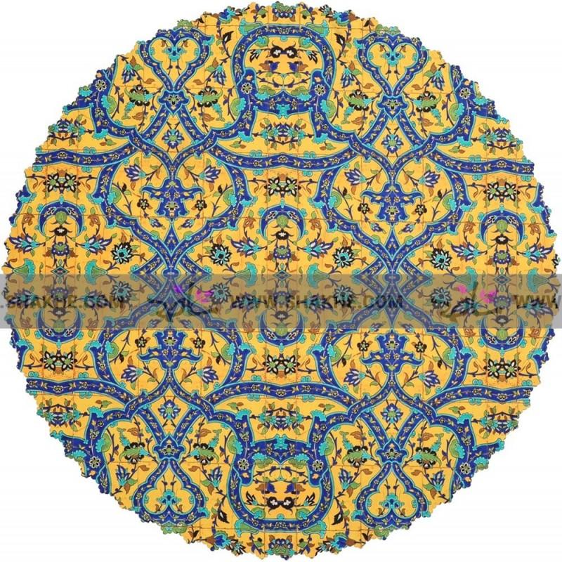 رومیزی مخمل فرش کاشی زرد