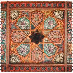 رومیزی مخمل مربع سقف چوب و چرم