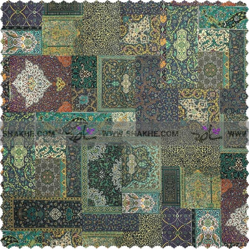 رومیزی مخمل مربع فرش چهل تیکه