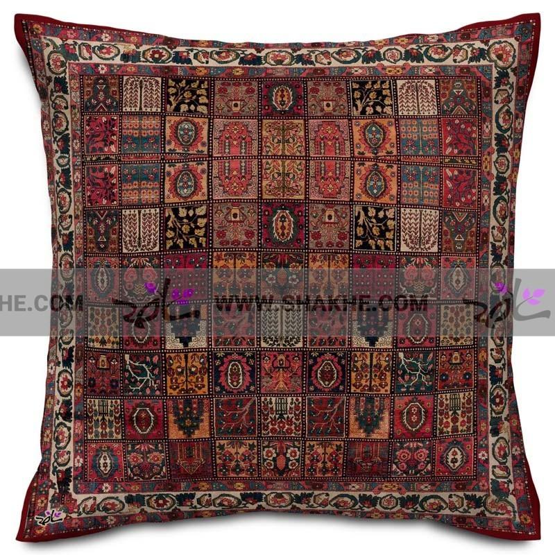 کوسن سنتی فرش خشتی زرشکی