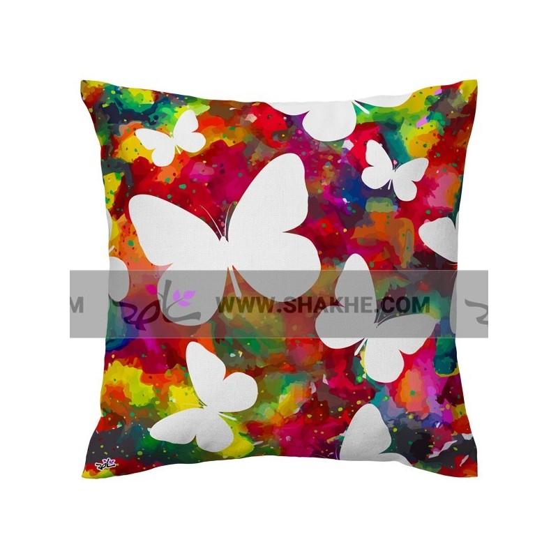 کوسن پروانه رنگ رنگ