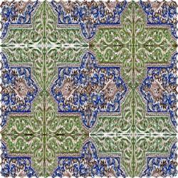 رومیزی مخمل مربع کتیبه گلی سبز ابی